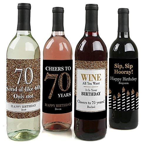 Custom Adult 70th Birthday - Gold - Personalized Birthday Party Decorations for Women and Men - Wine Bottle Label Stickers - Set of 4