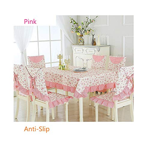 NDJqer 9Pcs/Set Floral Pattern Tablecloth Dining Room Chair Covers Print Anti-Slip Chair Cloths Table Cloth Cover Su Fragrant Flower About 130X180Cm]()
