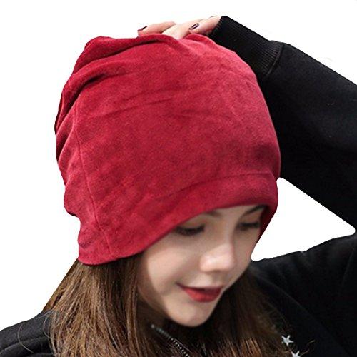 YAOSEN Warm Winter Skull Cap Solid Color Velvet Hat Slouchy Beanie Cap (Wine) -