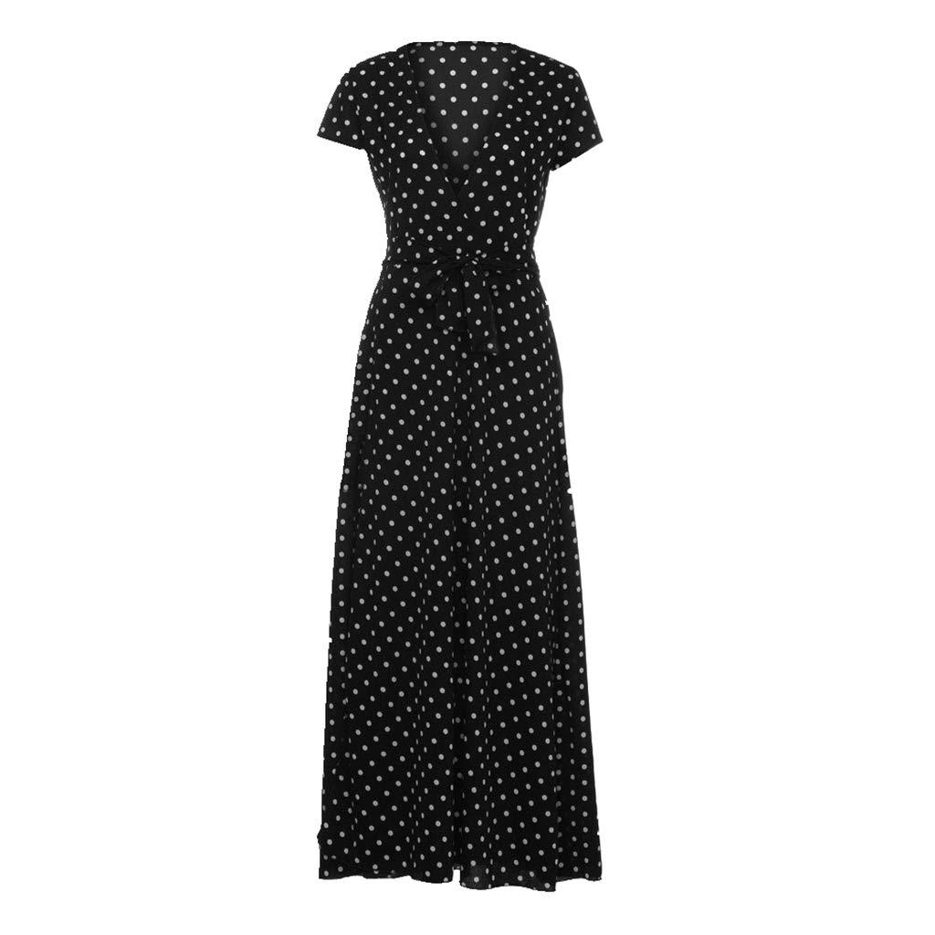 25d5b7d8ffe5 Amazon.com: Keepfit Chiffon Polka Dot Dresses, Deep V Neck Casual Long Maxi  Sundress: Clothing