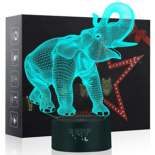 3D Elephant Night Lights for Children, Dinosaur Toy for Boys 7 Colors Touch Button USB Charge Table Desk Lamps Kids Bedroom Lighting Décor LED Nightlight, Cool Gifts Xmas Birthday for Baby Friend