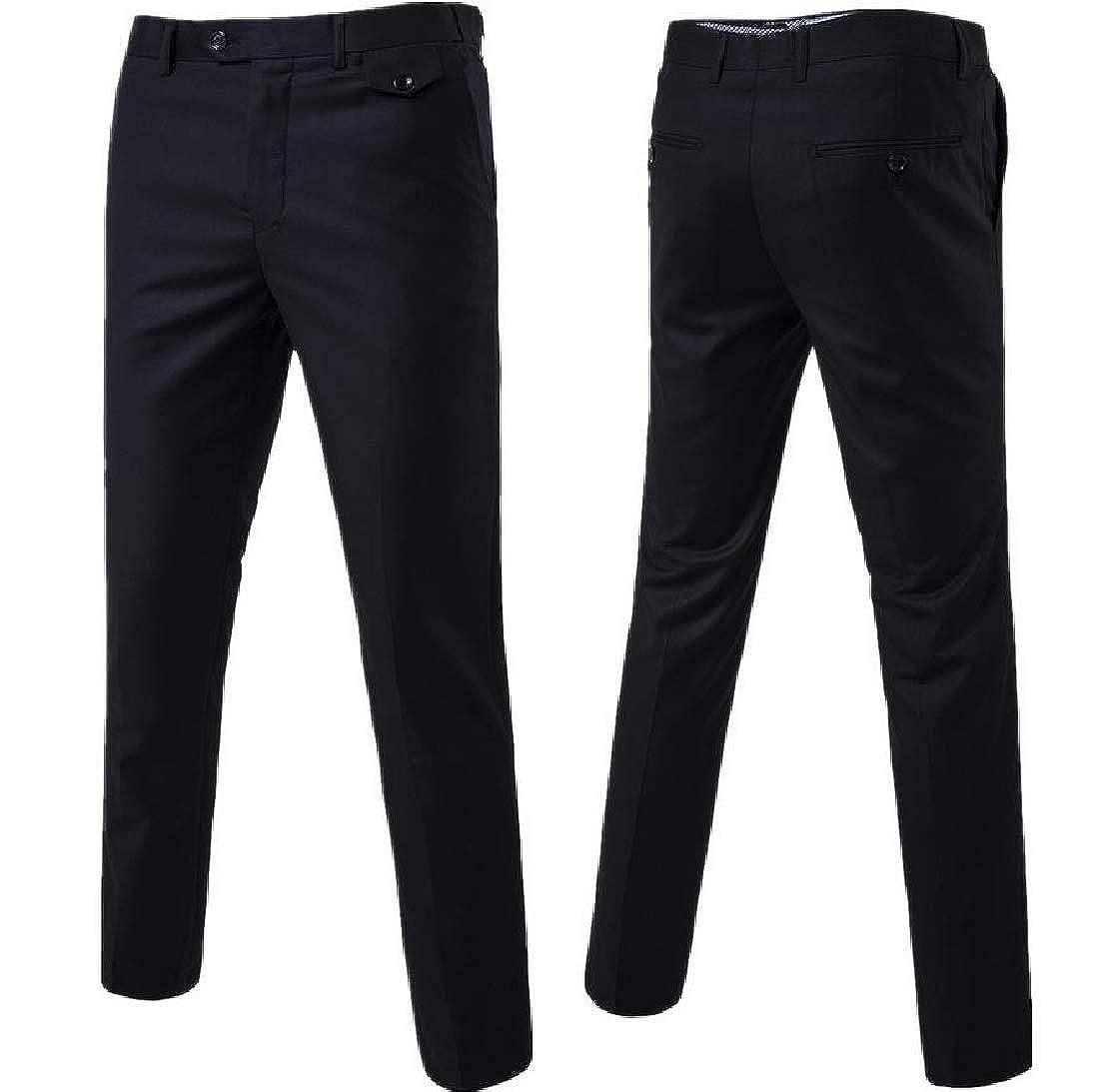 Coolred-Men Gentleman Classic Premium Fit Casual Loose Plain-Front Pant