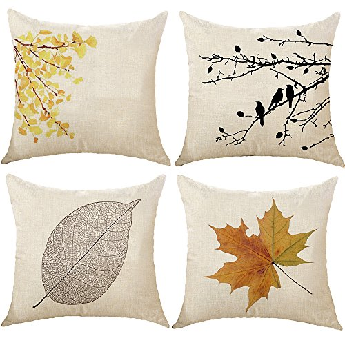 TongXi Maple Leaf Square Decorative Throw Pillows Cushion Covers 18x18 inches Pack of 4 (Decorative Leaf Pillows)