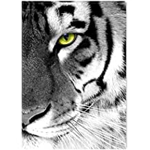 Startonight Canvas Wall Art Black and White Abstract Tiger Green Eye Animals Jungle, Dual View Surprise Artwork Modern Framed Ready to Hang Wall Art 100% Original Art Painting 31.5 x 47.2 inch