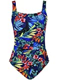 Mycoco Women's Shirred One Piece Swimsuit Tank Bathing Suits Tummy Control Swimwear Tropical Leaves 12