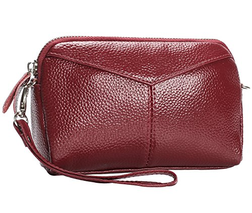 Leather Wristlet Smartphone Chain Purse Clutch Bag Soft amp;Wrist Red Date Metal Wallet with Crossbody Women's Strap Strap qEtdw11