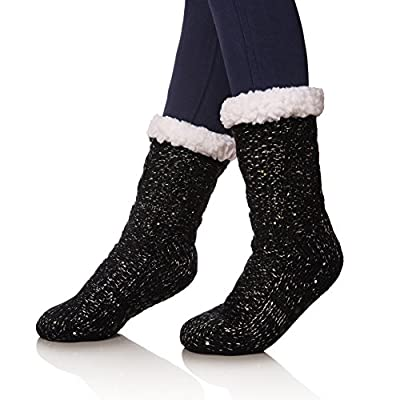 SDBING Women's Sequin Super Soft Warm Cozy Fuzzy Fleece-lined Winter Knee Highs Christmas gift Slipper socks (Black) at Women's Clothing store