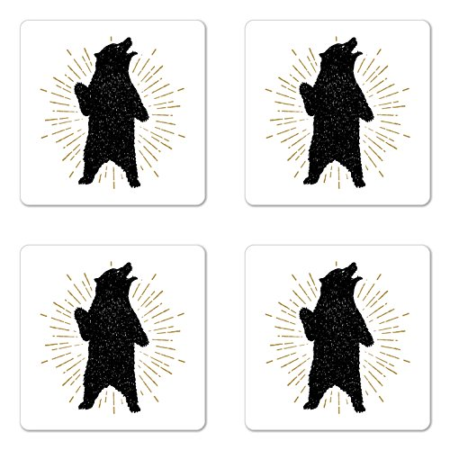 Ambesonne Bear Coaster Set of Four, Sketch of Tribal Icon with Roaring Grizzly Bear and Sunburst Effect Vintage Wildlife, Square Hardboard Gloss Coasters for Drinks, Black White