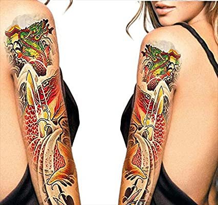 Tatuajes temporales japoneses de peces y dragón, para hombre y ...