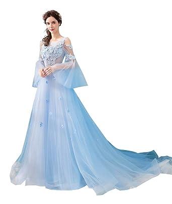 48e4776b25ed1 カラードレス 水色 誕生日 演出服 ウェディングドレス ドレス ロング 演奏会 花嫁 パーティードレス