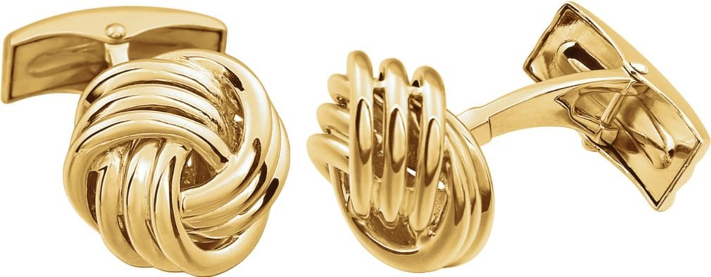 Love Knot 14k Yellow Gold Cuff Links, 15MM