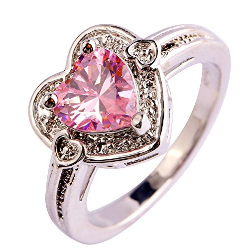 Psiroy 925 Sterling Silver Created Pink Topaz Filled Heart Shaped Halo Promise Ring Size 7