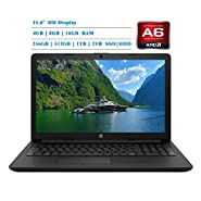 HP 2019 Newest Premium 15.6-inch HD Laptop, AMD A6-9225 Dual-Core 2.6 GHz, 4GB/8GB/16GB RAM, 1TB/2TB HDD, 128GB/256GB/512GB/1TB SSD, AMD Radeon R4, WiFi, HDMI, MaxxAudio, Bluetooth, Windows 10