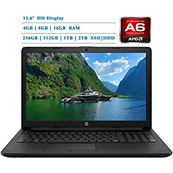 HP 2019 Newest Premium 15.6-inch HD Laptop, AMD A6-9225 Dual-Core 2.6 GHz, 4GB/8GB/16GB RAM, 1TB/2TB HDD, 128GB/256GB/512GB/1TB SSD, AMD Radeon R4, WiFi, ...