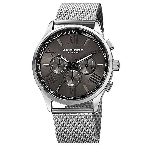 Akribos XXIV Men's AK844SSB  Round Black Radiant Sunburst Dial Two Time Zone Quartz Staniless Steel Bracelet Watch