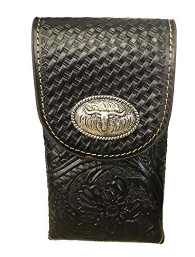 (Leather Floral Tooled Basket Weave Texas Longhorn Concho Belt Loop Phone Pouch (Black))