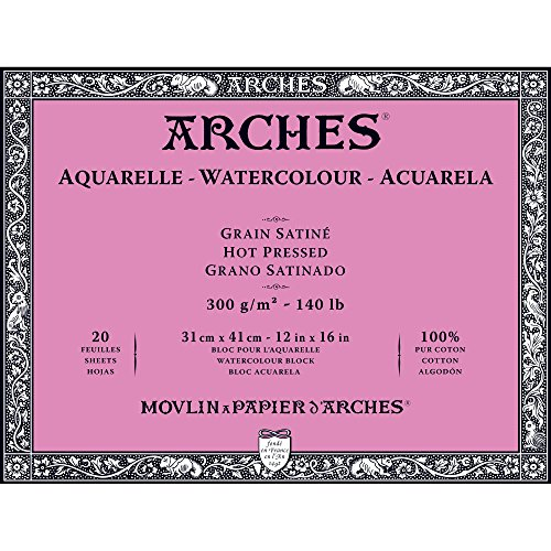 Arches Watercolor Paper Block, Hot Press, 12