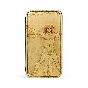 Vitruvio Luc Viatour por Leonardo da Vinci piel sintética caso prima, cubierta dura protectora Funda para Apple iPhone 4/4s por obras maestras de la pintura + Protector de pantalla gratis