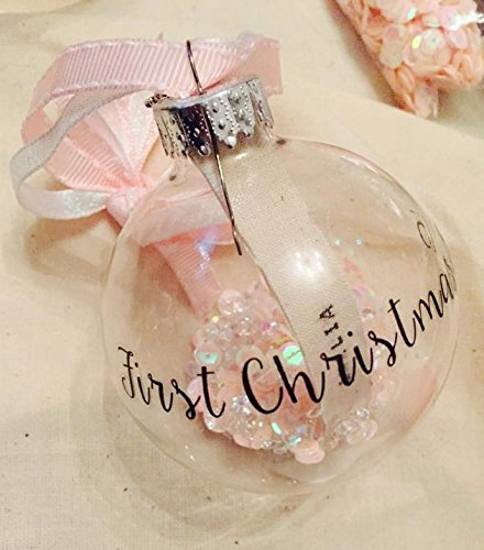 Luxury Handmade Personalised Baby S 1st Christmas Bauble Pink Or