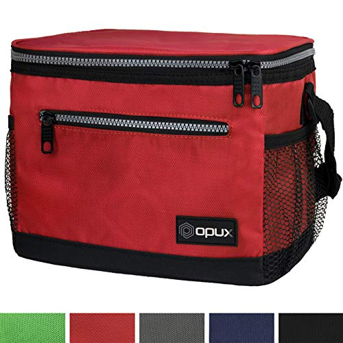(OPUX Premium Lunch Box, Insulated Lunch Bag for Men Women Adult   Durable School Lunch Pail for Boys, Girls, Kids   Soft Leakproof Medium Lunch Cooler Tote for Work Office   Fits 14 Cans (Red))