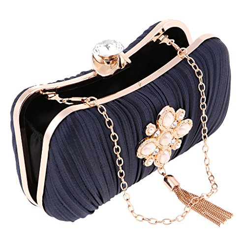 Rhinestone Shoulder with Women Diamante Crystal Shoulder Blue Messenger Lightweight Deep Chains Evening Fenteer Handbag Clutch Bag Bag 2 Gold Bag Tote 05Iqxwd