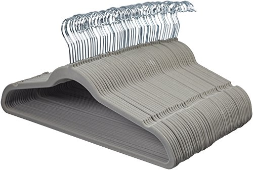 - AmazonBasics Velvet Suit Clothes Hangers, 50-Pack, Gray