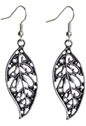 Yazilind Earring Plated Silver Leaf Shape Alloy Earring Plated Silver Diameter:2.1In Wide:1.4 In