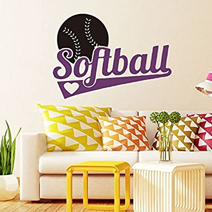 Amazon.com: Softball Wall Art Mural Removable Wall Stickers Sports ...