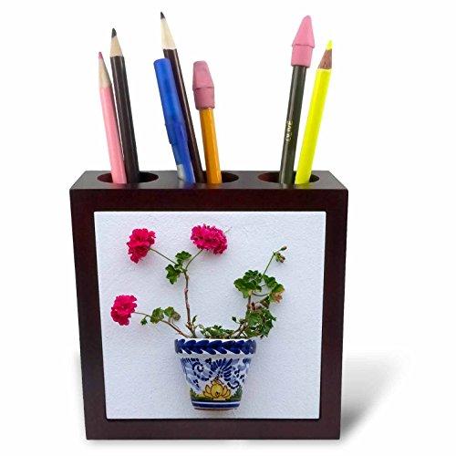 3dRose Danita Delimont - Flowers - Spain, Andalusia. Arcos de la Frontera. Painted ceramic flower pot. - 5 inch tile pen holder (ph_277888_1) by 3dRose