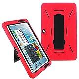 Galaxy Tab 2 10.1 Case KIQ (TM) Heavy Duty Hybrid Silicone Skin Hard Plastic Case Cover w/ Kick Stand for Samsung Galaxy Tab 2 10.1 P5100 - Black / Red
