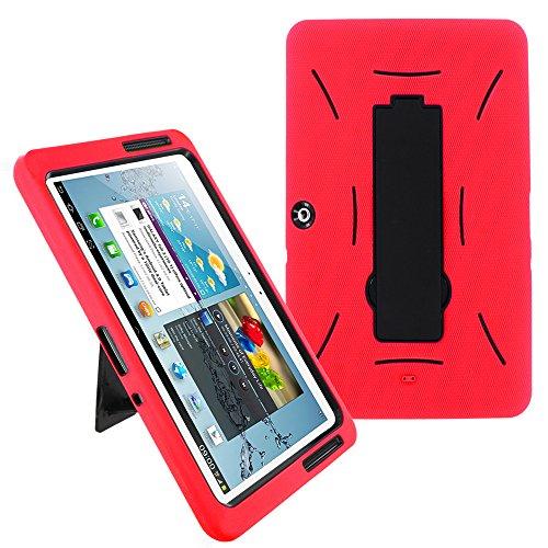 Galaxy Tab 2 10.1 Case KIQ (TM) Heavy Duty Hybrid Silicone Skin Hard Plastic Case Cover w/ Kick Stand for Samsung Galaxy Tab 2 10.1 P5100 - Black / Red by KIQ