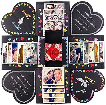 Pannow Caja de explosiones Bricolaje álbum de Fotos Hecho a Mano Scrapbooking Caja de Regalo para el Día de San Valentín Caja de Boda Fiesta de ...