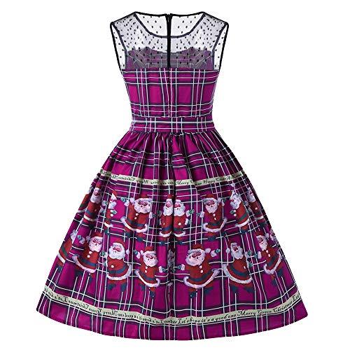 Tsmile Fall Winter Women Vintage Printed Dress Christmas Plaid Santa Claus Sheer Lace Insert Swing Dress ()