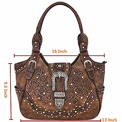 Western Style Concealed Carry Purse Buckle Country Large Handbags Messenger Shoulder Bag Wallet Set Brown