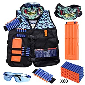 Hely Cancy Kids Tactical Vest Kit for Nerf Guns N-Strike Elite Series with Refill Darts, Reload Clips, Tactical Mask, Wrist Band and Protective Glasses for Boys
