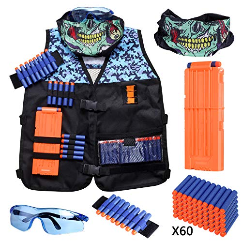 Kids Tactical Vest Kit Compatible with Nerf Guns N-Strike Elite Series with Refill Darts, Reload Clips, Tactical Mask, Wrist Band and Protective Glasses for Boys by Hely Cancy