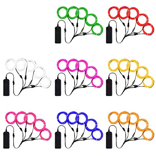 Zitrades EL Wire Neon Lights Kit with Portable AA Battery Inverter for Halloween Christmas Party DIY Decoration (Red, Green, Pink, Purple, Blue, White, Yellow, Orange, 5 by 1-Meter, 8 Pack)
