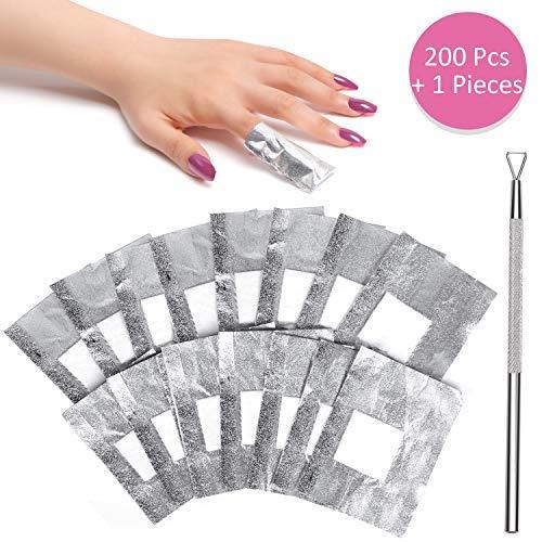 Gel Nail Polish Remover - Nail Foil Wraps BTArtbox Gel Nail Remover Wraps 200Pcs Soak Off Gel Remover with 1 Pcs Cuticle Pusher for Removing Nail Polish at Home