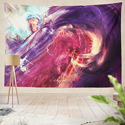 Summor Tapestry Abstract Fractal Swirls Digital Artwork Swirl Purple Abstract Pink Water Splatter Cool Hanging Tapestries 50 x 60 inch Wall Hanging Decor for Bedroom Livingroom Dorm