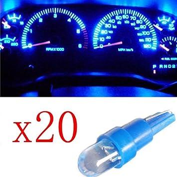 Ancdream 20Pcs 12v 1.2w T5 5mm Super Bright Blue LED Wedge Car Dashboard Speedo Bulb 286