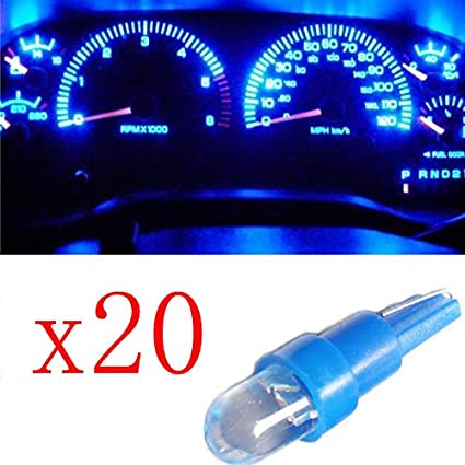 Ancdream 20pcs Coche T5 Tablero De Instrumentos 286 Luz De Matrícula Azul LED Bombillas DC 12V