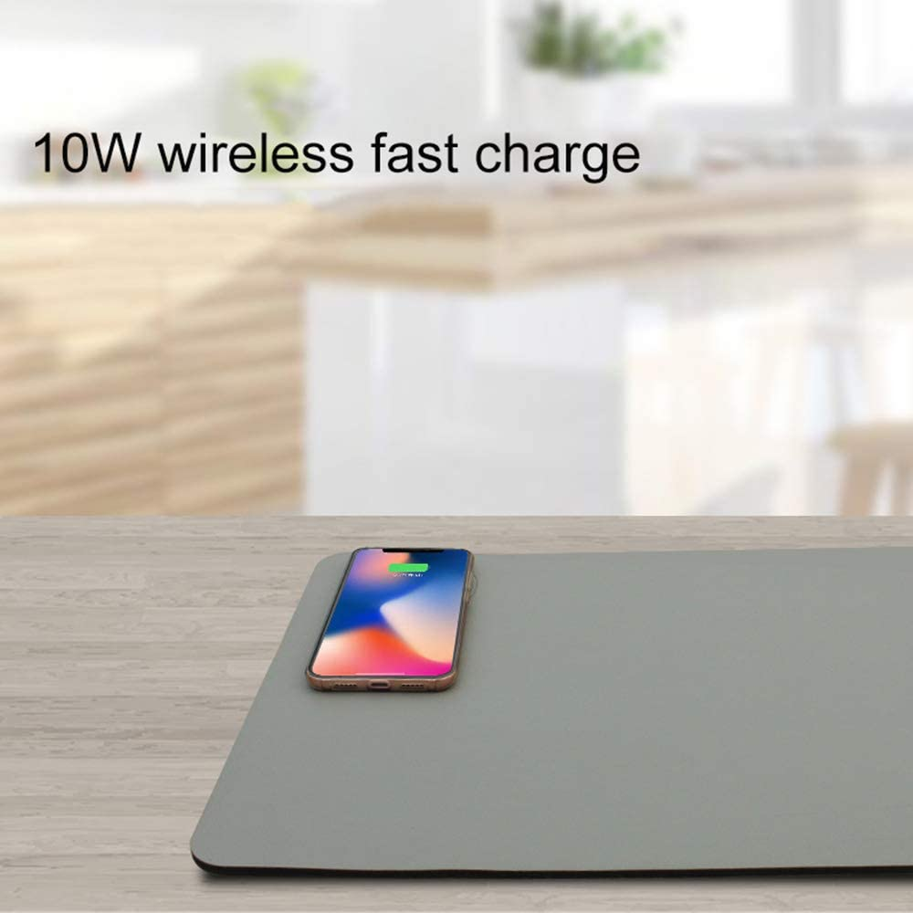 Extended Soft Gaming Keyboard Mat ZSLD Qi Wireless Charging Mouse Pad 10W 2 in 1 Wireless Fast Charge for All Qi-Enabled Devices