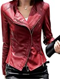 Tanming Women's Short Slim Slant Zip Faux Leather Moto Jacket Multiple Colors (Small, Jujube red)