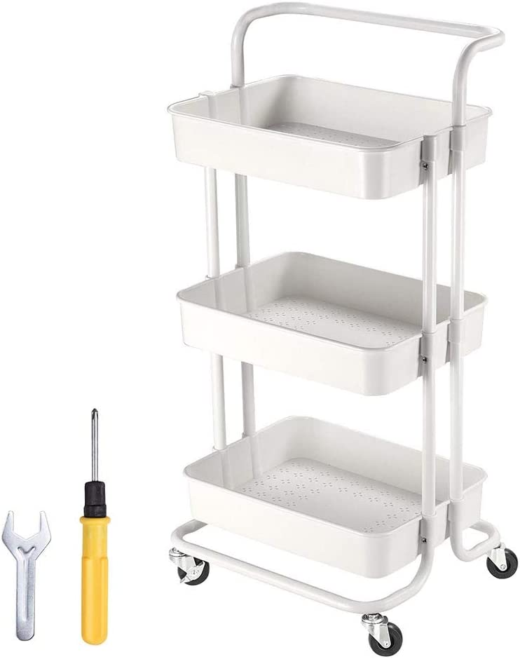 Yescom 3 Tiers Rolling Cart Metal Utility Cart Mobile Storage Cart Organizer White