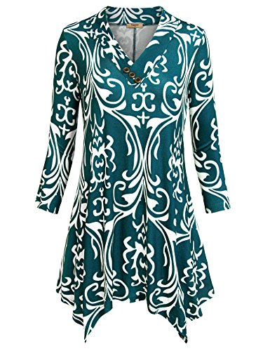 Timeson Women Tunic Shirts, Women's 3/4 Sleeve Tunic V-Neck Floral Printed Loose Swing Tunic Tops For Leggings(Multicolor Green,Large) (Printed V-neck Cardigan)