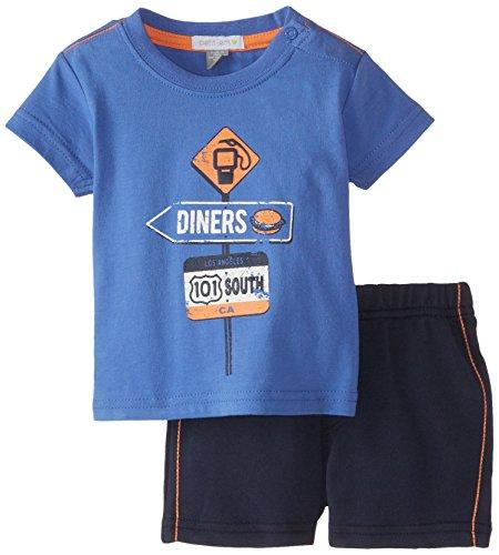 Petit Lem Baby-Boys Newborn Short Sleeve Top with Shorts, Blue, 6 Months