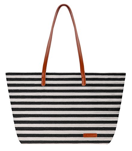 Canvas Tote Bag ZLYC Women Beach Bag Stripe Shoulder Bag Large Hand Bag Casual Shopper Bag Trendy Canvas Tote