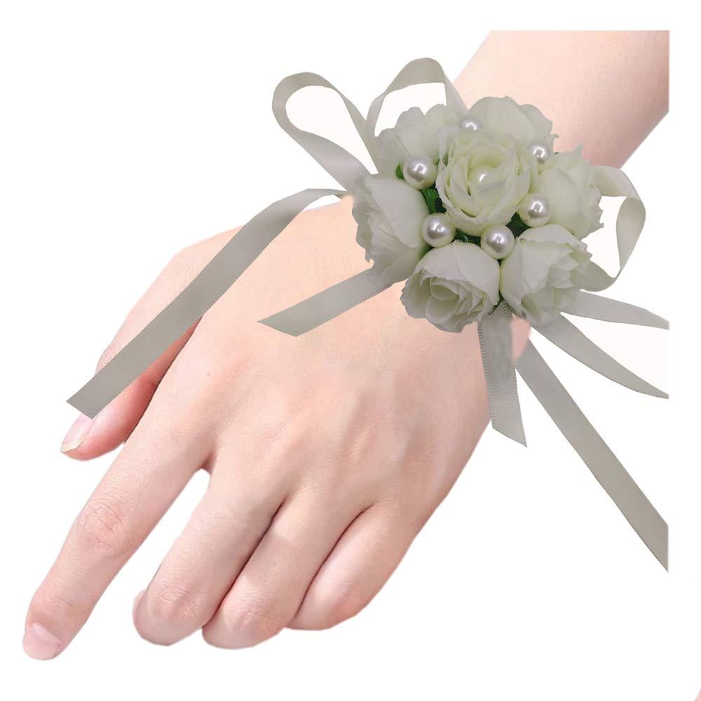 Arlai Set of 2,Wedding Bridal Bridesmaid Wrist Flower Wrist Corsage Party, Wedding, Prom (Milk white)