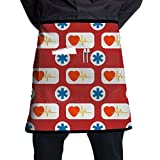 OGYSFS Medical And Healthy Conceptual Pattern Bib Apron Waist Apron Half Bistro Apron With Pockets For Men And Women