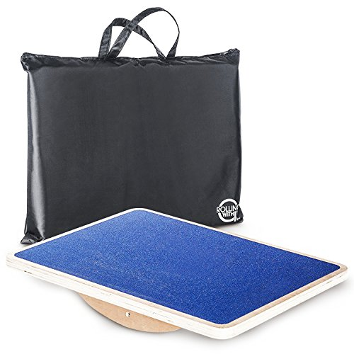 Professional Wooden Rocker Board–Commercial Grade Balance Board With Non-Slip Platform-Strengthens Core-Improves Flexibility, Stability, Posture-FREE Oxford Cloth Carrying Bag Included